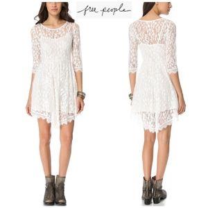 Free People lace mesh 3/4 sleeves dress sz 4